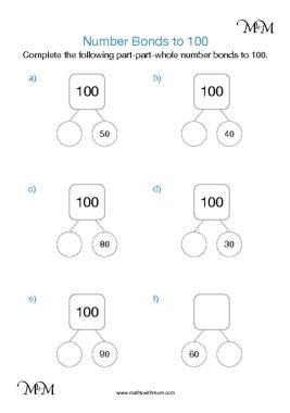 number bonds to 100 part part whole model worksheet pdf