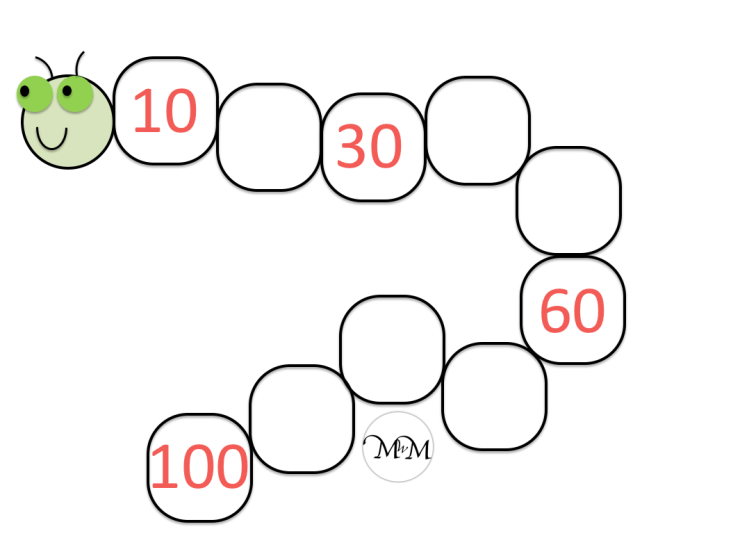 blank skip counting by 10 caterpillar worksheet