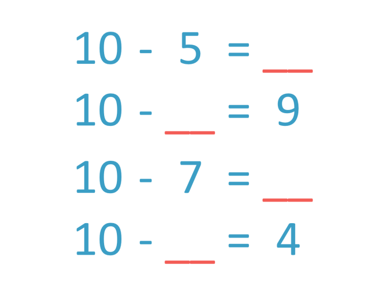 example questions of subtraction facts to 10