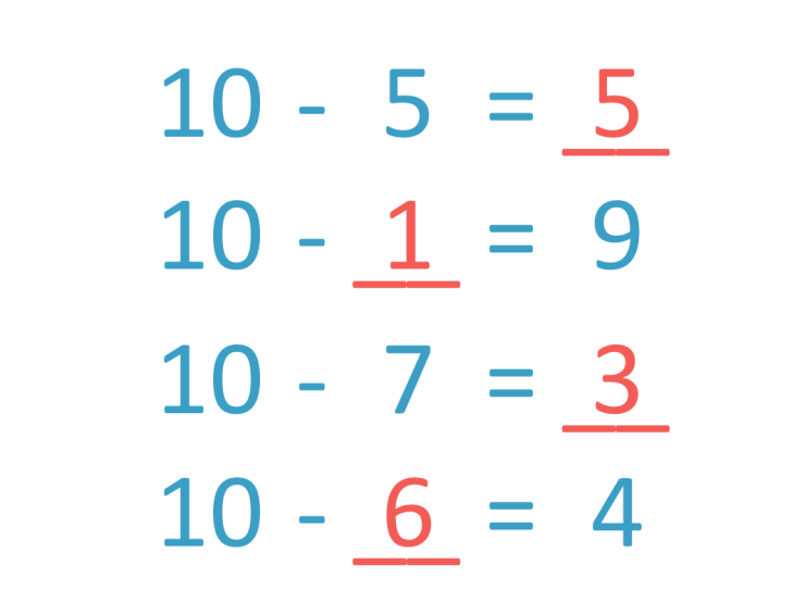 subtractions from 10 answers to the questions