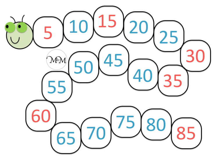answers to the skip counting by five caterpillar worksheet
