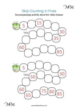 skip counting by 5 lesson activity worksheets pdf