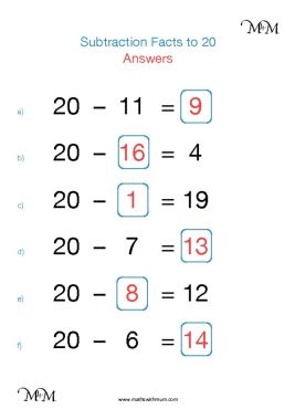 subtraction facts to 20 worksheet answers pdf