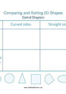 sorting shapes using a carroll diagram worksheet pdf