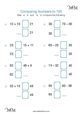 comparing number sentences with greater than less than worksheet answers pdf