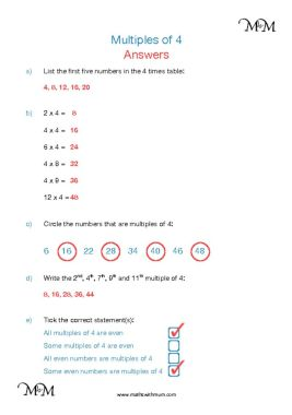Multiples of 4 worksheet answers pdf