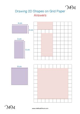 drawing 2d shapes on square grid paper worksheet answers pdf