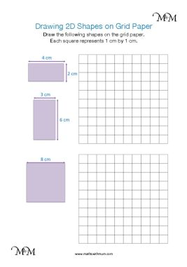 drawing 2d shapes on dotted paper worksheet pdf