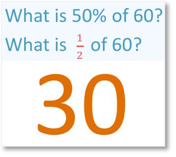 simple percentages 50% half of 30