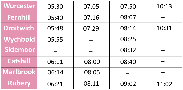 A bus timetable example