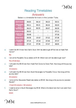 reading timetables worksheet answers pdf