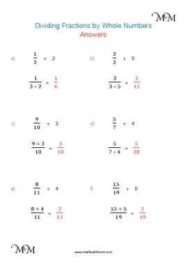 dividing fractions by whole numbers worksheet answers pdf