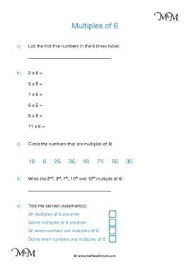Multiples of 6 worksheet pdf