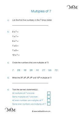 Multiples of 7 worksheet pdf