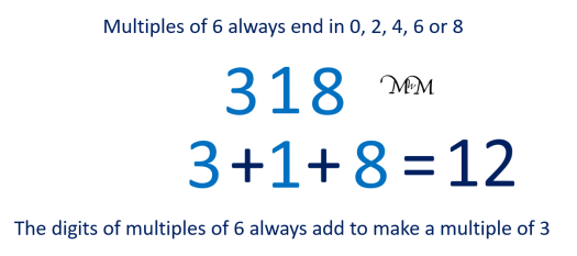 rule to test if a number is a multiple of 6 example of 318