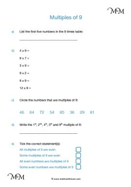 Multiples of 9 worksheet pdf