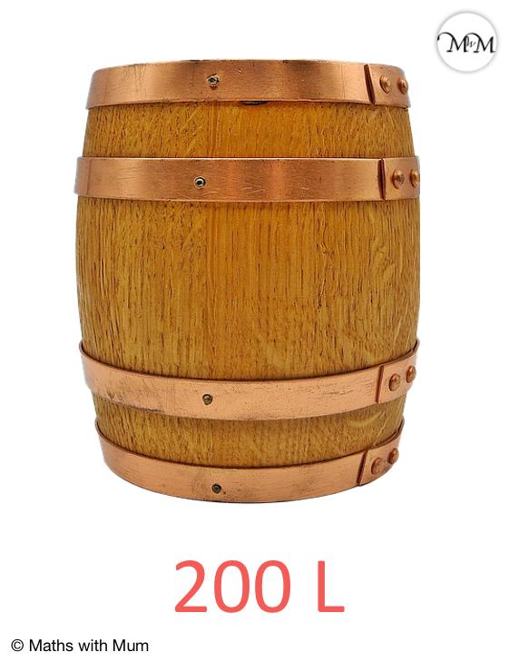 a barrel contains 200 litres