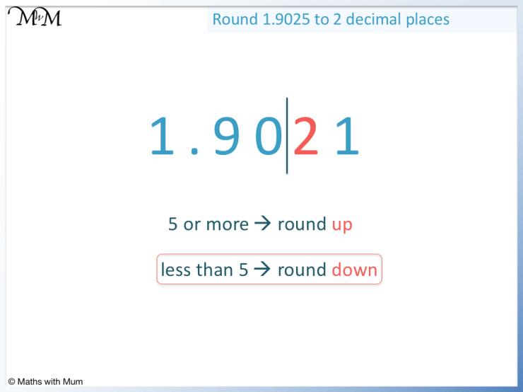 rounding 1.9021 to the nearest hundredth