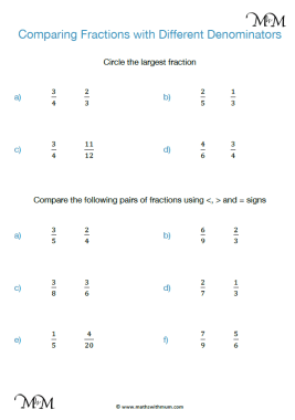 comparing fractions with different denominators worksheet pdf