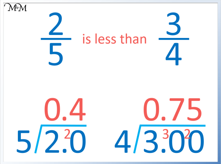 how to compare fractions by turning them into decimals