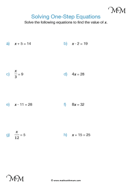 solving one step equations worksheet pdf