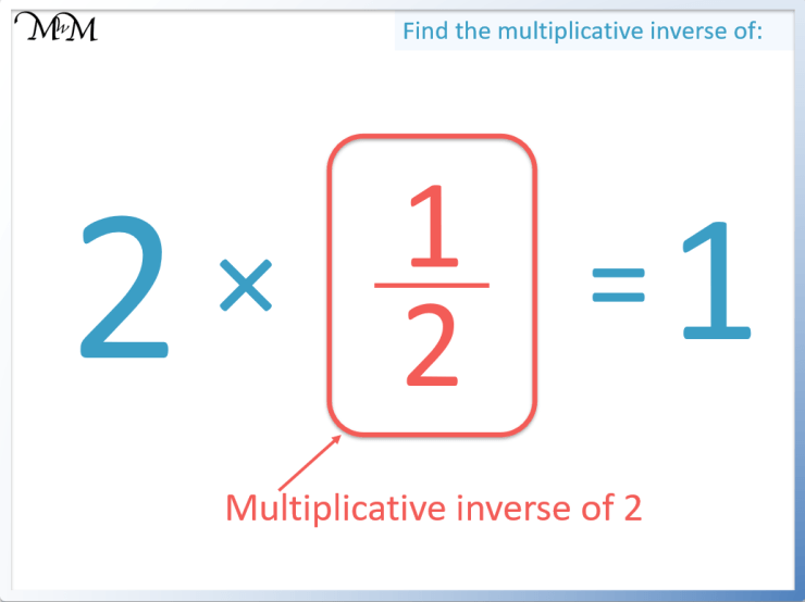 the multiplicative inverse of 2 is one half