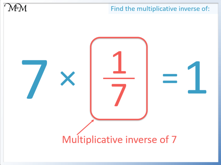 the multiplicative inverse of 7 is 1/7