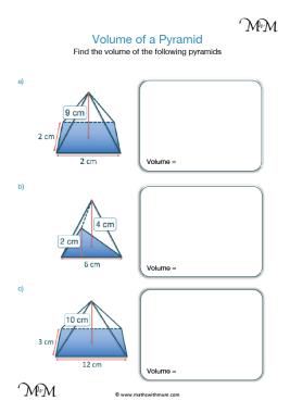 volume of a pyramid worksheet pdf