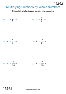 Multiplying a Fraction by a Whole Number worksheet pdf