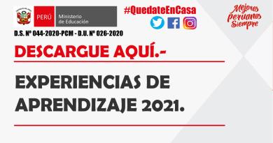 EXPERIENCIAS DE APRENDIZAJE 2021.