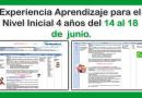 Experiencia Aprendizaje para el Nivel Inicial 4 años del 14 al 18 de  junio.