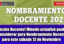 Atención Docente! Minedu actualizó pautas a considerar para Nombramiento Docente para este sábado 13 de Noviembre