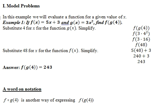 Composition Of Functions Of Worksheet And Answer Key
