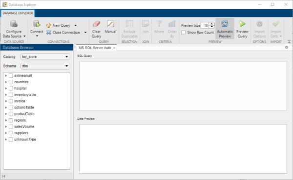 Configure, explore, and import database data - MATLAB