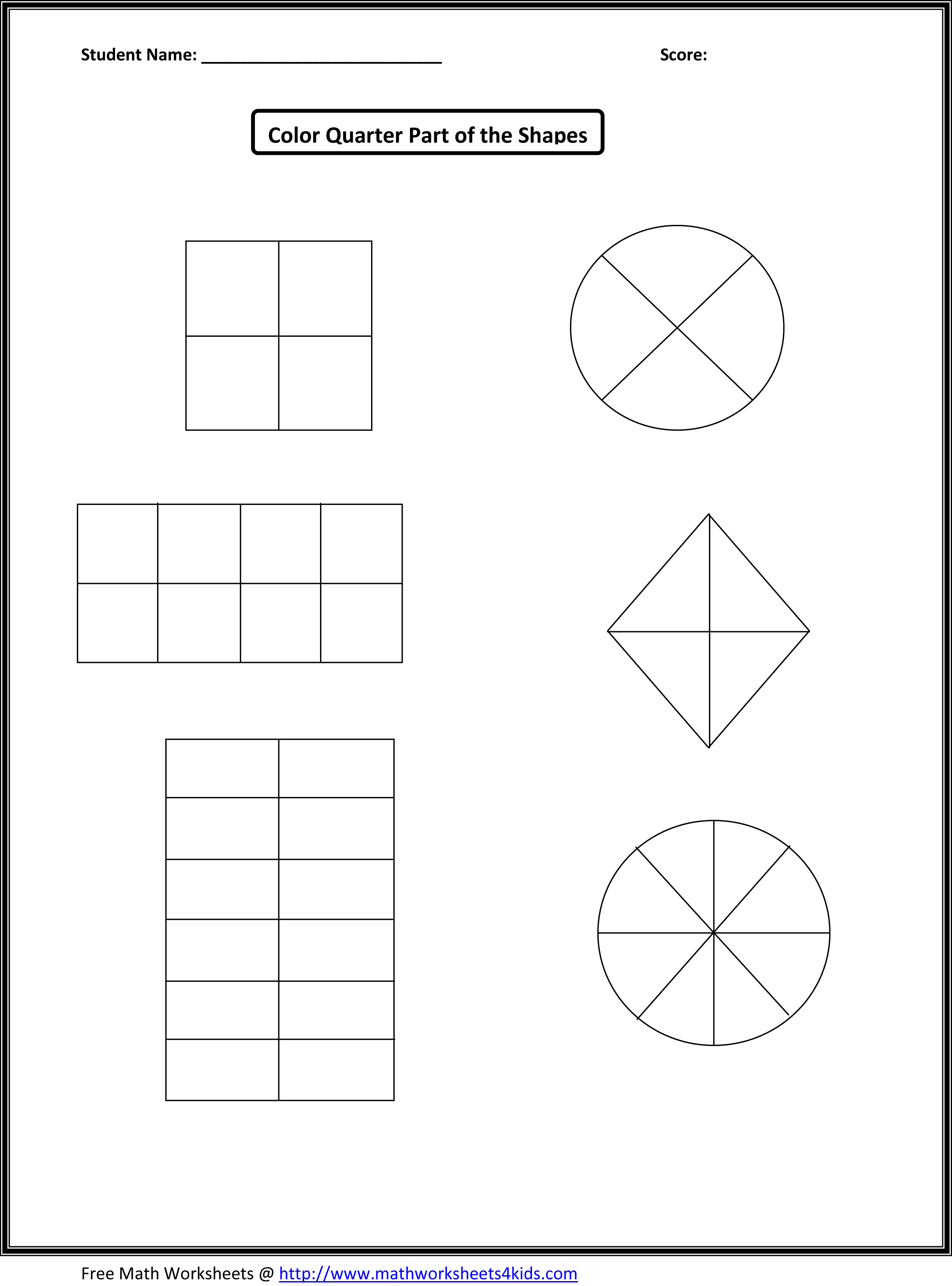 Grade 3 Fractions Worksheet