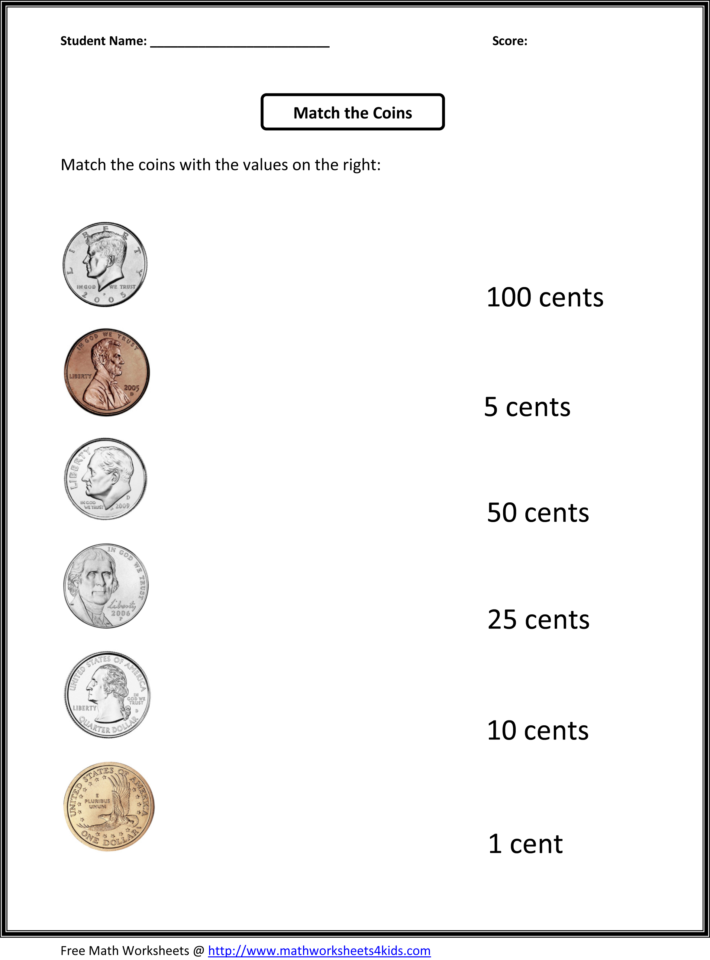 Coin Identification Worksheet For Kids Zikepi85
