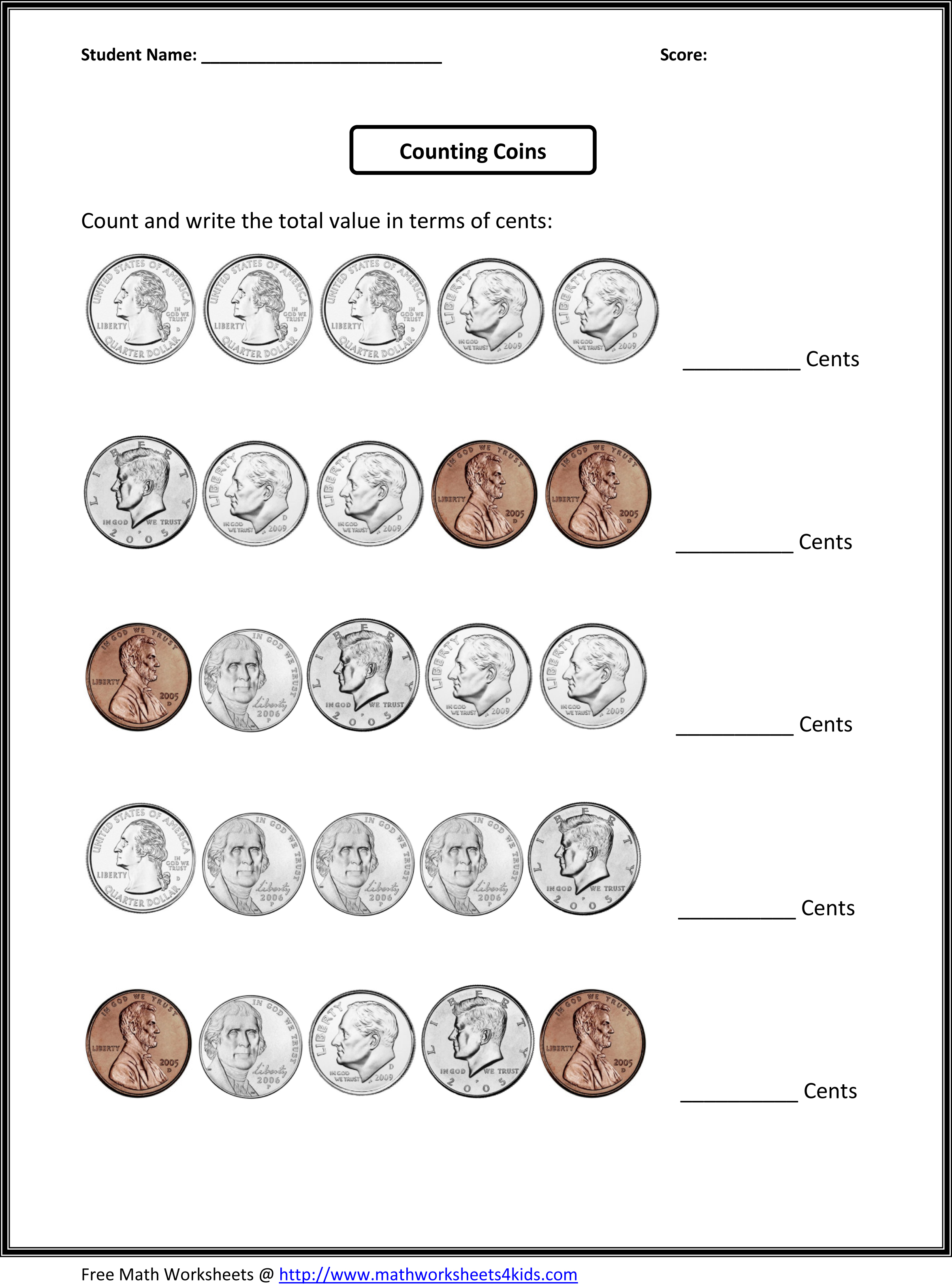 New 738 Free Worksheets On Counting Money 1st Grade
