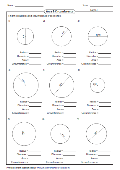 Cirference And Area Of Circle Worksheets