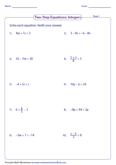 Equalities And Inequalities Worksheets