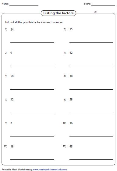 Factoring Worksheets