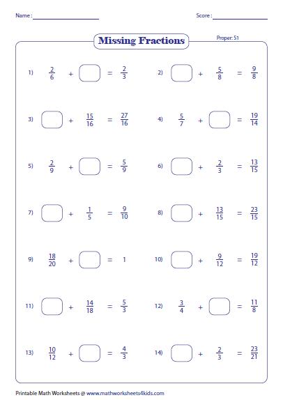 Adding Fractions Worksheets