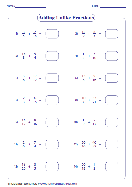 How to add fractions with unlike denominators worksheet how to adding fractions worksheets ccuart Images