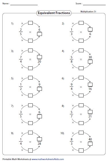 Multiplication Printables Maths Worksheet Fractions