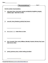 Permutation Worksheets