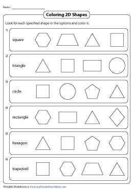 Identifying And Naming 2d Shapes Worksheets