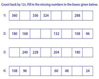 Skip Counting By 12s Worksheets