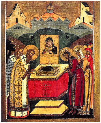 Κατάθεσις της Τιμίας Εσθήτος της Θεοτόκου στο Ναό των Βλαχερνών