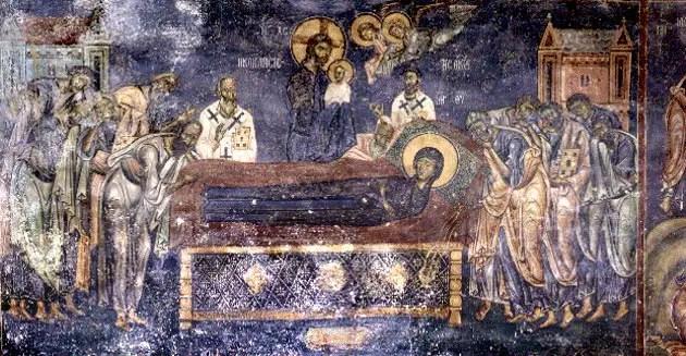τοιχογραφία με την Κοίμηση της Θεοτόκου, 1170-1180, Άγιος Νικόλαος του Κασνίτζη, Καστοριά