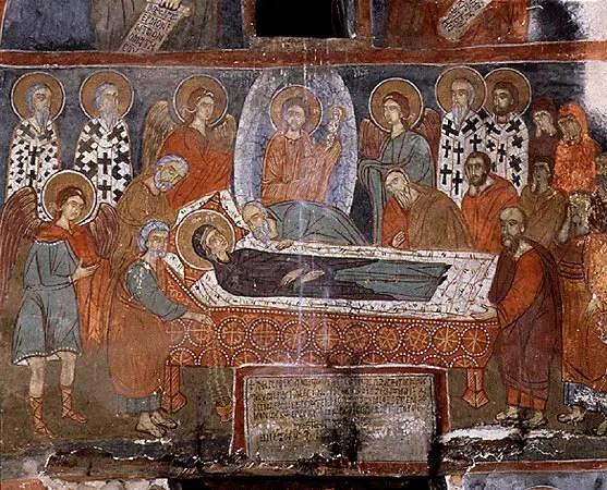 Τοιχογραφία με παράσταση της Κοίμησης της Θεοτόκου, 1410, Ασκηταριό Παναγίας Ελεούσας, Μεγάλη Πρέσπα