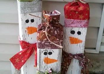 Ξύλινος διακοσμητικός χιονάνθρωπος